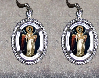 Medieval Arch Angel Oval Frame Earrings