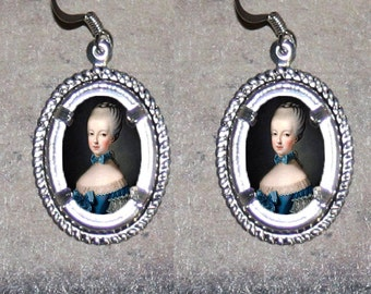 French Queen Marie Antoinette Oval Frame Earrings