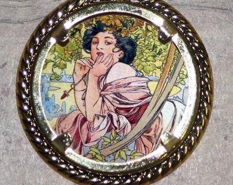 Alphonse Mucha July Calendar SUMMER goddess Frame Pendant
