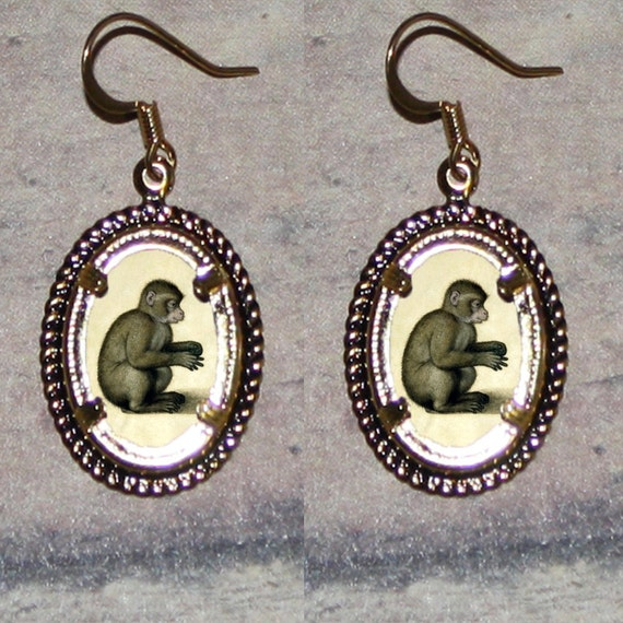 Brown MONKEY by Durer Oval Frame Earrings