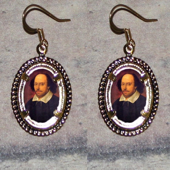 William Shakespeare Oval Frame Earrings
