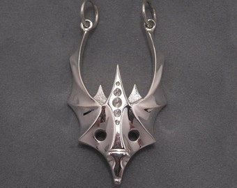 Abstract dragon mask pendant - sterling silver