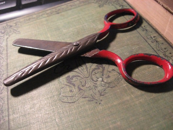 red handled enamel childs scissors engraved decorative scissors supply tool altered art
