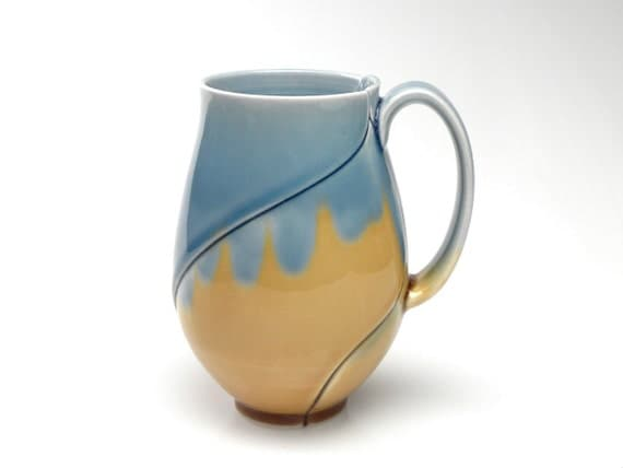 Large Tall Mug with Blue and Amber Leaf Pattern 16 Ounce