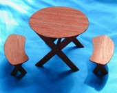 Dollhouse Miniature Redwood Patio Table And 2 Benches Scale 1/12