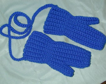 Royal Blue Crochet Mittens with cord Fits 1-2 year old