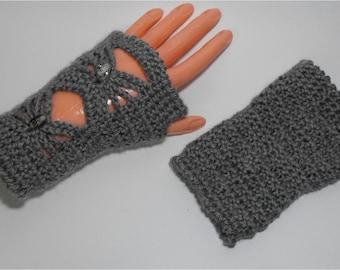 Fingerless Gloves, Womens, Grey