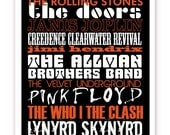 Rock Bands Typography Poster, 11 X 14