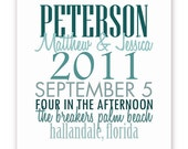 Wedding Gift or Guest Book - 11 X 14 Typography - Teal