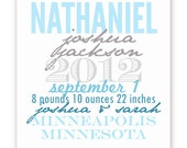 Date Poster in Blue and Grey - Personalize with Birth or Adoption Details, 11 X 14