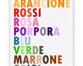 Colors in Italian Poster, I Colori, Large 20 X 30