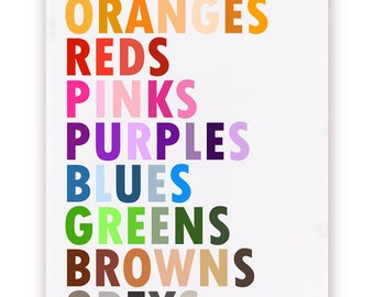 Colors in English Poster, Large 20 X 30