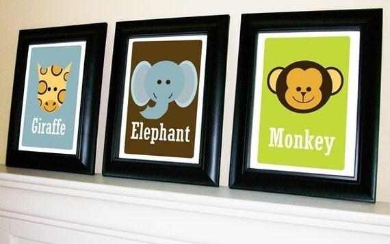 Single Jungle Safari Animal Prints 11 X 14 - Choice of Monkey, Giraffe, Lion, Elephant