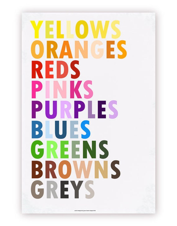 Set of 3 Colors Posters - Pick from English, French, Spanish, German, Italian, Hebrew, Russian 20 X 30 Prints
