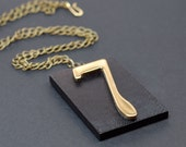 Lucky 7 Jewelry- Upcycled Number 7 Black & Brass Pendant