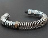 Industrial Hardware Bracelet- Upcycled Silver Found Object Jewelry Cuff Bracelet