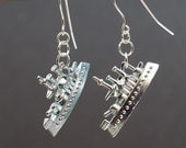Monopoly Jewelry- Battle Ship Earrings, Monopoly Earrings, Upcycled Game Piece Earrings Black Friday Sale