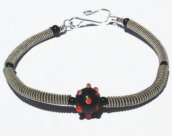 Guitar String Bracelet- Black and Red Bead Guitar String Jewelry, Music Jewelry, Guitar Player Gift