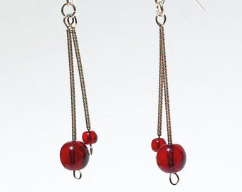 Guitar String Jewelry- Garnet Red Bead & Silver Drop Upcycled Guitar String Earrings, Guitar Jewelry, Music Jewelry, Guitar Player Gift