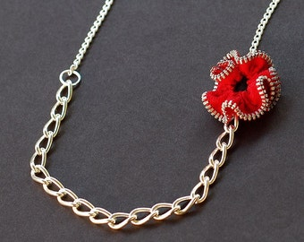 Red Zipper Necklace- Upcycled Zipper Flower Necklace, Zipper Jewelry, Red Poppy Necklace, Recycled Jewelry, Sewing Jewelry, Gift for Sewer