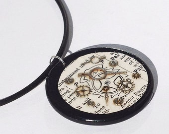 Steampunk Jewelry- Silver Gear Dictionary Pendant Necklace, Steampunk Necklace on Black Rubber Cord by Tanith Rohe