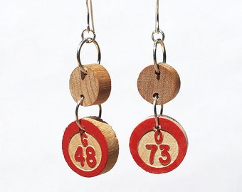 Bingo Jewelry- Upcycled Red Vintage Bingo Game Piece Earrings, Found Object Jewelry, Bingo Gift, Kitsch Jewelry, Geek Gift, Number Jewelry