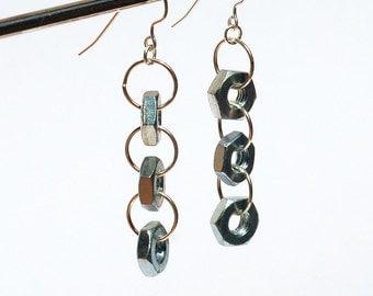 Hardware Jewelry- Salvaged Silver Hardware Earrings, Found Object Jewelry, Hex Nut Earrings, Industrial Jewelry, Modern Minimal Jewelry