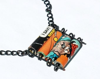 Comic Book Necklace- Upcycled Comic Ladder Necklace, Comic Book Jewelry, Geek Gift, Paper Jewelry, Paper Bead Jewelry, Paper Bead Necklace
