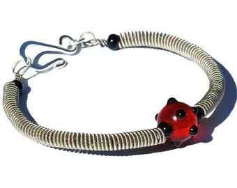 Guitar String Bracelet- Red & Black Polka Dot Recycled Guitar String Jewelry, Guitar Player Gift, Music Jewelry