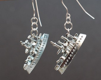 Monopoly Jewelry- Battle Ship Earrings, Monopoly Earrings, Upcycled Game Piece Earrings