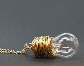 Steampunk Necklace- Brass Upcycled Light Bulb Necklace Steampunk Jewelry