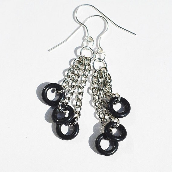 multi chain earrings upcycled black o ring hardware jewelry