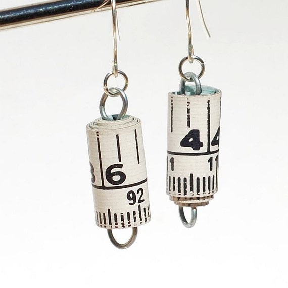 Found Object Jewelry- Upcycled Tape Measure Earrings