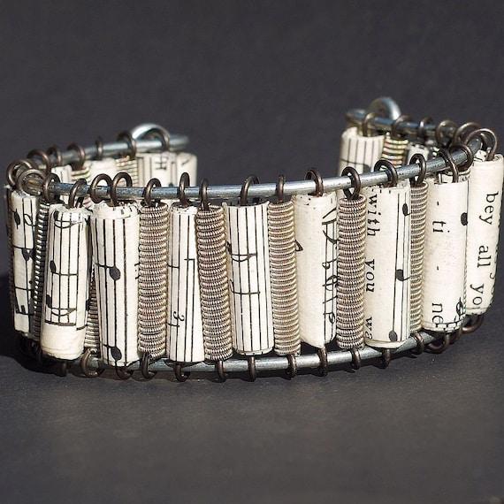 Guitar String Bracelet- Upcycled Sheet Music Paper Bead Bracelet, Cuff Bracelet, Music Jewelry, Guitar String Jewelry, Guitar Player Gift