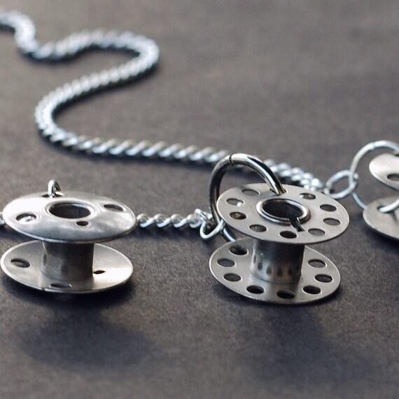 Found Object Jewelry- Upcycled Silver Bobbin Necklace