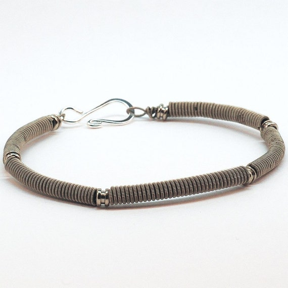 guitar string bracelet upcycled silver bracelet with by tanith. Black Bedroom Furniture Sets. Home Design Ideas