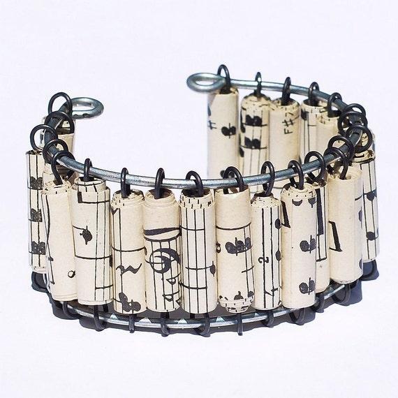 Sheet Music Bracelet- Paper Bead Jewelry, Vintage Music Cuff Bracelet, Paper Bead Bracelet, Music Jewelry, Paper Jewelry, Music Lover Gift