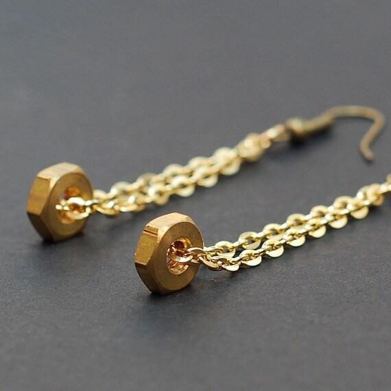 Hardware & Chain Earrings- Brass Upcycled Hex Nut Earrings, Hardware Jewelry, Hardware Earrings, Industrial Jewelry, Long Earrings