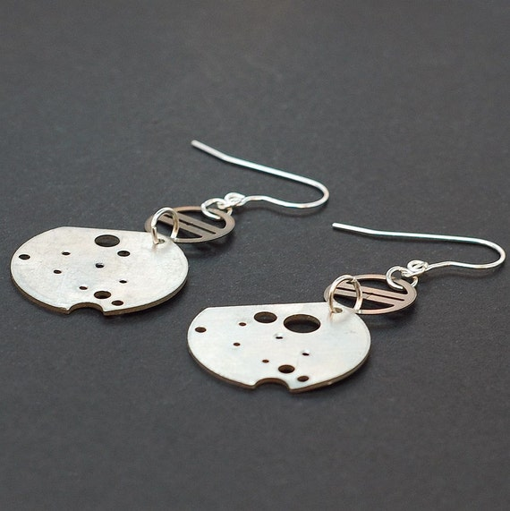 Industrial Jewelry- Upcycled Clock Part Silver Steampunk Earrings
