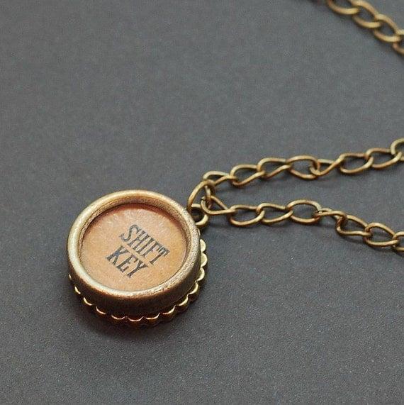 Typewriter Key Necklace Shift Key Steampunk Jewelry