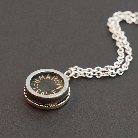 Typewriter Key Necklace Silver & Black Margin Release Upcycled Steampunk Jewelry
