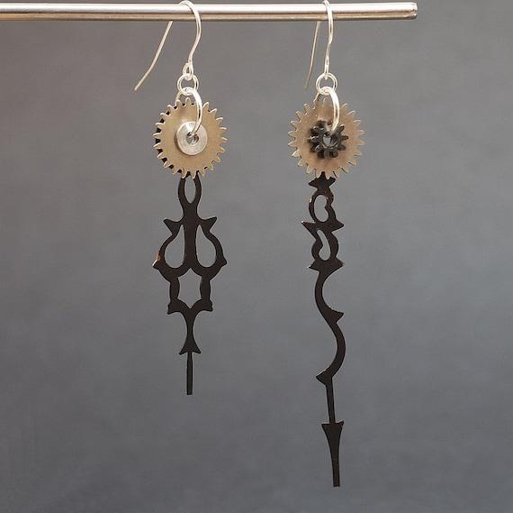 Steampunk Earrings- Clock Hand & Silver Gear Earrings