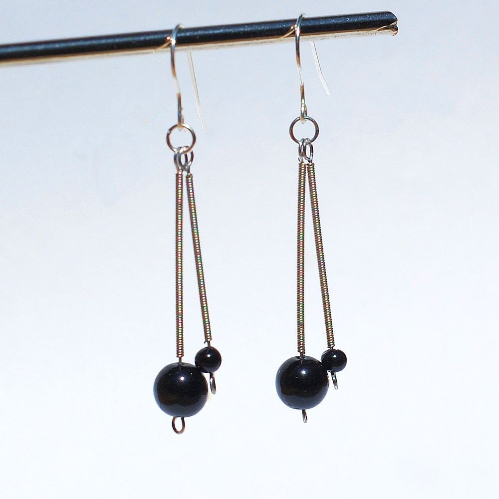 guitar string jewelry black bead silver drop recycled. Black Bedroom Furniture Sets. Home Design Ideas