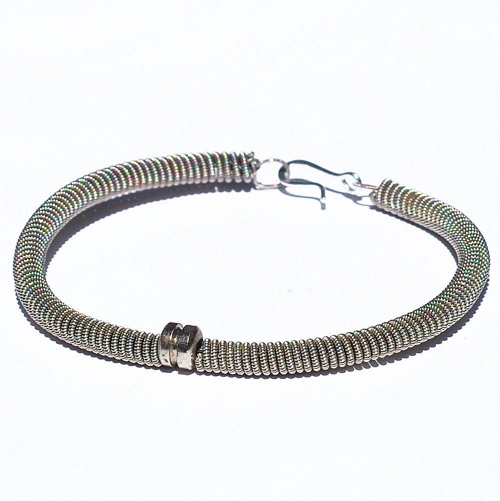 guitar string bracelet silver with bass string ball end. Black Bedroom Furniture Sets. Home Design Ideas