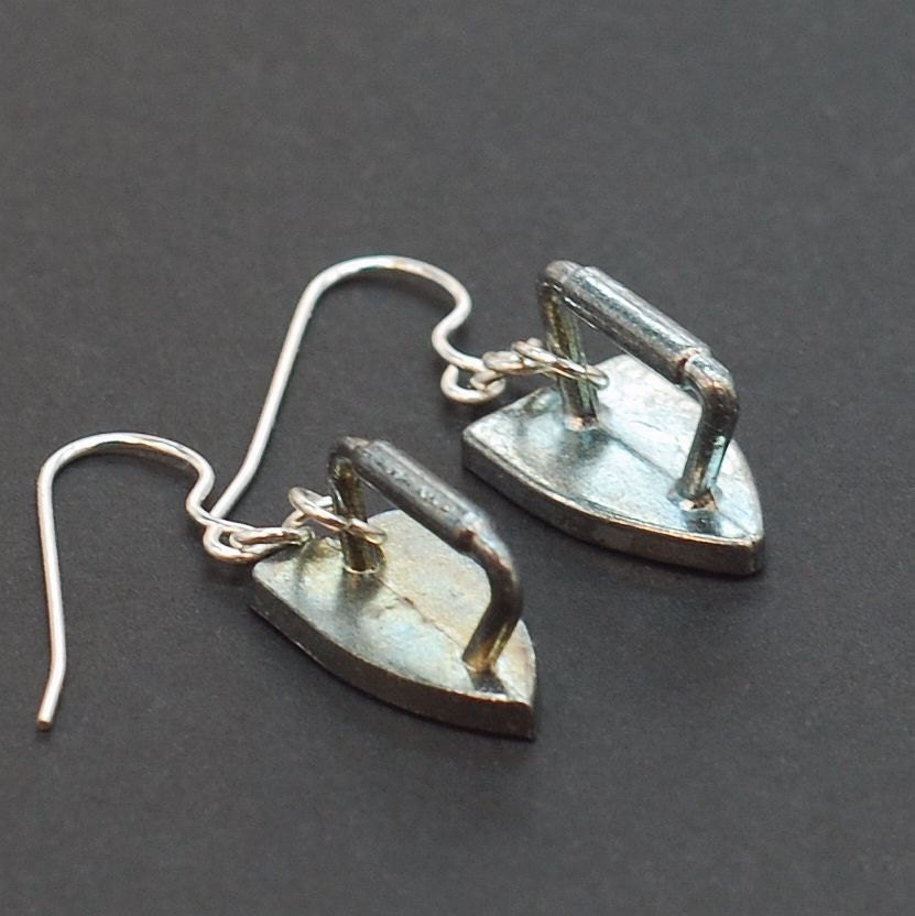monopoly jewelry iron upcycled token earrings