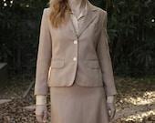 vintage 1970s BEIGE BLUSH NEUTRAL linen look suit/ school boy fit blazer