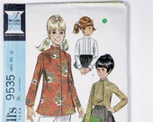 Vintage McCall's Girls size 12 pattern 9535 blouse set 3 versions 1968
