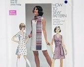 Vintage Simplicity Junior Petite size 9jp Bust 33 pattern 8613 Dress, Sash or Scarf 1969