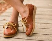 1980's COGNAC brown oxfords with a gum wedge heel