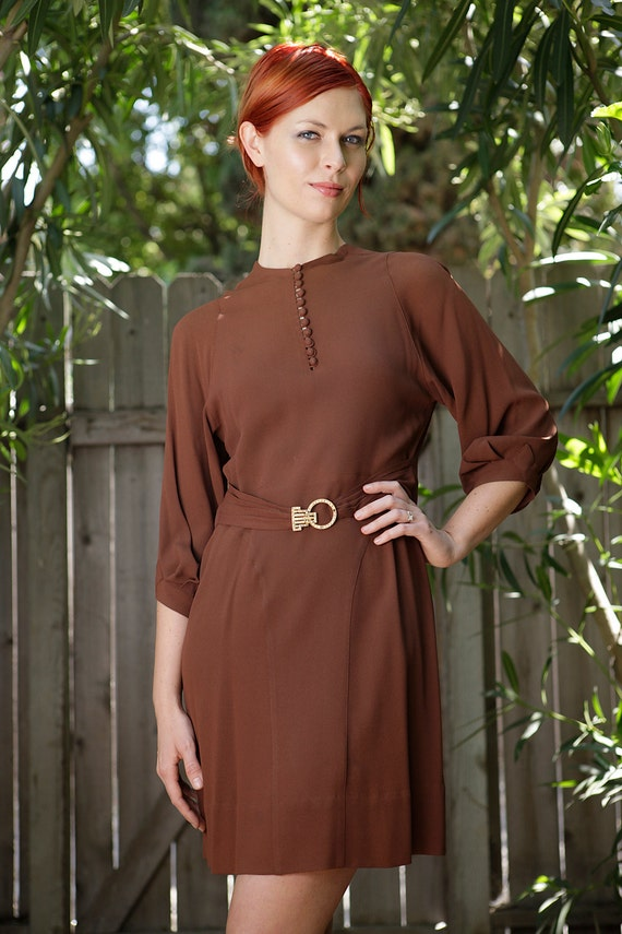 1940s SILK crepe dress
